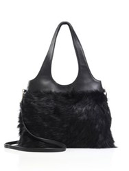 Elizabeth And James Zoe Small Leather Fur Carryall Tote Black
