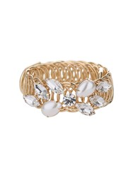 Mikey Crystal Flower Pearl Ring Cuff Bracelet
