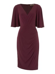 Biba Wrap Drape Pleat Detail Dress Berry