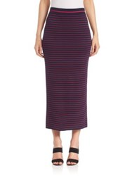 Tanya Taylor Striped Rib Knit Midi Skirt Midnight Fuchsia