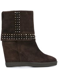 Le Silla Concealed Platform Studded Boots Brown