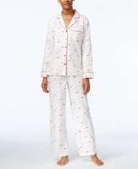 Charter Club Printed Flannel Pajama Set Only At Macy's Ivory Cardinal