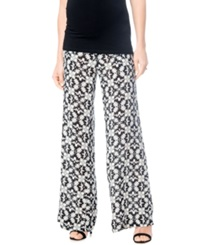 A Pea In The Pod Maternity Printed Wide Leg Soft Pants Black Off White