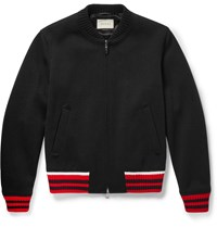 Gucci Stripe Trimmed Wool Blend Bomber Jacket Black