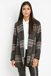 Forever 21 Plaid Open Front Coat Charcoal Red