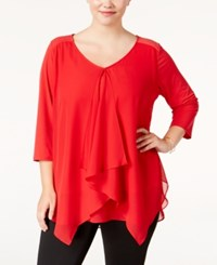 Ny Collection Plus Size Draped Handkerchief Hem Top Mercury