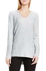 Vince Camuto Women's Two By 'Traveling Stitch' V Neck Tunic Light Heather Grey