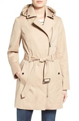 Michael Michael Kors Women's Asymmetrical Zip Front Hooded Trench Coat British Khaki
