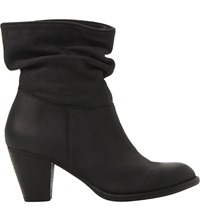 Steve Madden Ruched Calf Boots Black Leather