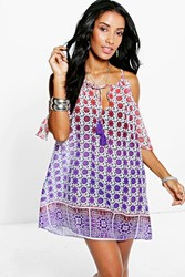 Boohoo Ombre Tile Print Cold Shoulder Sun Dress Purple