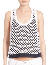 Rag And Bone Taryn Sleeveless Knit Tank Black White