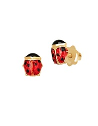 Lord And Taylor 14K Yellow Gold Ladybug Stud Earrings Red Enamel Gold