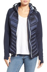 Michael Michael Kors Women's Mixed Media Hooded Down Jacket Blue