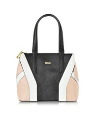 Pinko Black Pink And White Embossed Leather Tote Bag