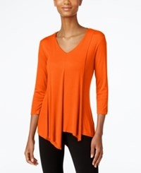 Cable And Gauge Asymmetrical Hem Top Orange