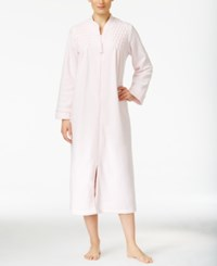 Miss Elaine Zip Front Brushed Back Terry Robe Pink