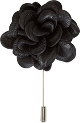 Lanvin Black Leather Floral Tie Pin