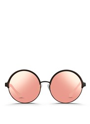 Matthew Williamson Contrast Temples Layered Metal Round Mirror Sunglasses Pink Metallic