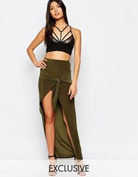 Club L Slinky Knot Detailed Skirt Olive Green