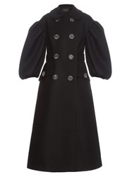 Simone Rocha Oversized Flower Button Double Breasted Coat Black