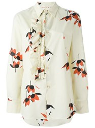 Marni Floral Print Shirt Nude And Neutrals