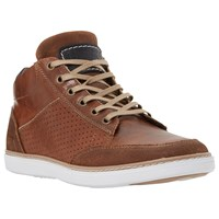 Dune Squizz Leather Perforated Side Hi Top Trainers Tan