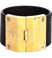 Parts Of Four Box Lock Leather And Sterling Silver Bracelet Black Acid Gold