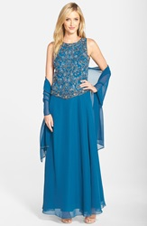 J Kara Beaded Chiffon Gown With Shawl Teal Mercury Turquoise
