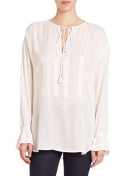 Theory Alrik Silk Tunic Blouse Ivory