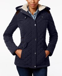 Laundry By Design Faux Fur Lined Quilted Coat Pretoria Navy
