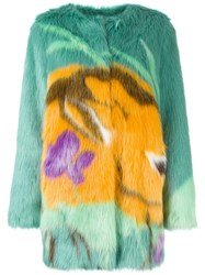 Marco De Vincenzo Faux Fur Coat Green