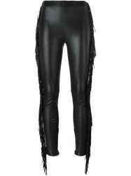 Saint Laurent Fringed Skinny Trousers Black