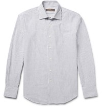 Freemans Sporting Club Striped Cotton Oxford Shirt Dark Gray