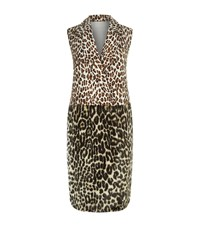Stella Mccartney Long Faux Fur Leopard Waistcoat Female Neutral