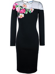 Blumarine Rose Applique Midi Dress Black