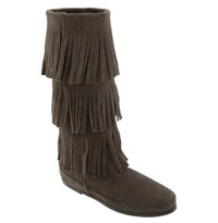 Women's Minnetonka 3 Layer Fringe Boot Grey