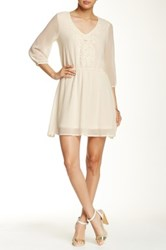 Want And Need Crochet Overlay Mini Peasant Dress White