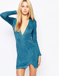 Missguided Long Sleeve Bodycon Dress Teal