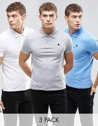 Asos Muscle Logo Pique Polo 3 Pack Grey White Blue Save 19 Multi