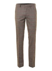Topman Brown And Burgundy Check Skinny Fit Suit Trousers