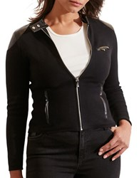 Lauren Ralph Lauren Plus Stretch Cotton Moto Jacket Black