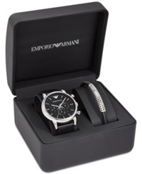 Emporio Armani Men's Chronograph Luigi Black Leather Strap Watch And Bracelet Set 46Mm Ar8029 No Color