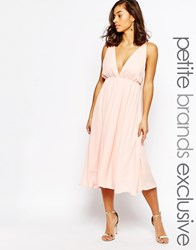 True Decadence Petite Cami Plunge Front And Back Midi Skater Dress Nude