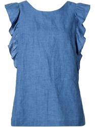 Mih Jeans Ruffle Sleeve Shirt Blue