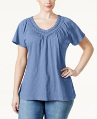 Jm Collection Woman Jm Collection Plus Size Crochet V Neck Tee Only At Macy's Gentle Blue