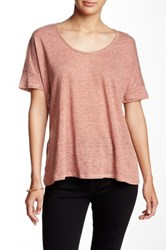Heather By Bordeaux Boxy Scoop Neck Linen Tee Red
