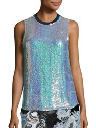 3.1 Phillip Lim Sequined Silk Blend Tank Iridescent