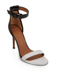 Givenchy Nadia Laced Back Patent Leather Sandals White Black