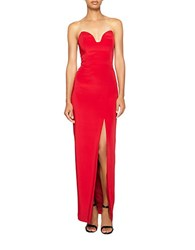 Nicole Miller Strapless Sweetheart Gown Lipstick Red