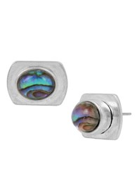 Kenneth Cole Abalone Geometric Stud Earrings Silver